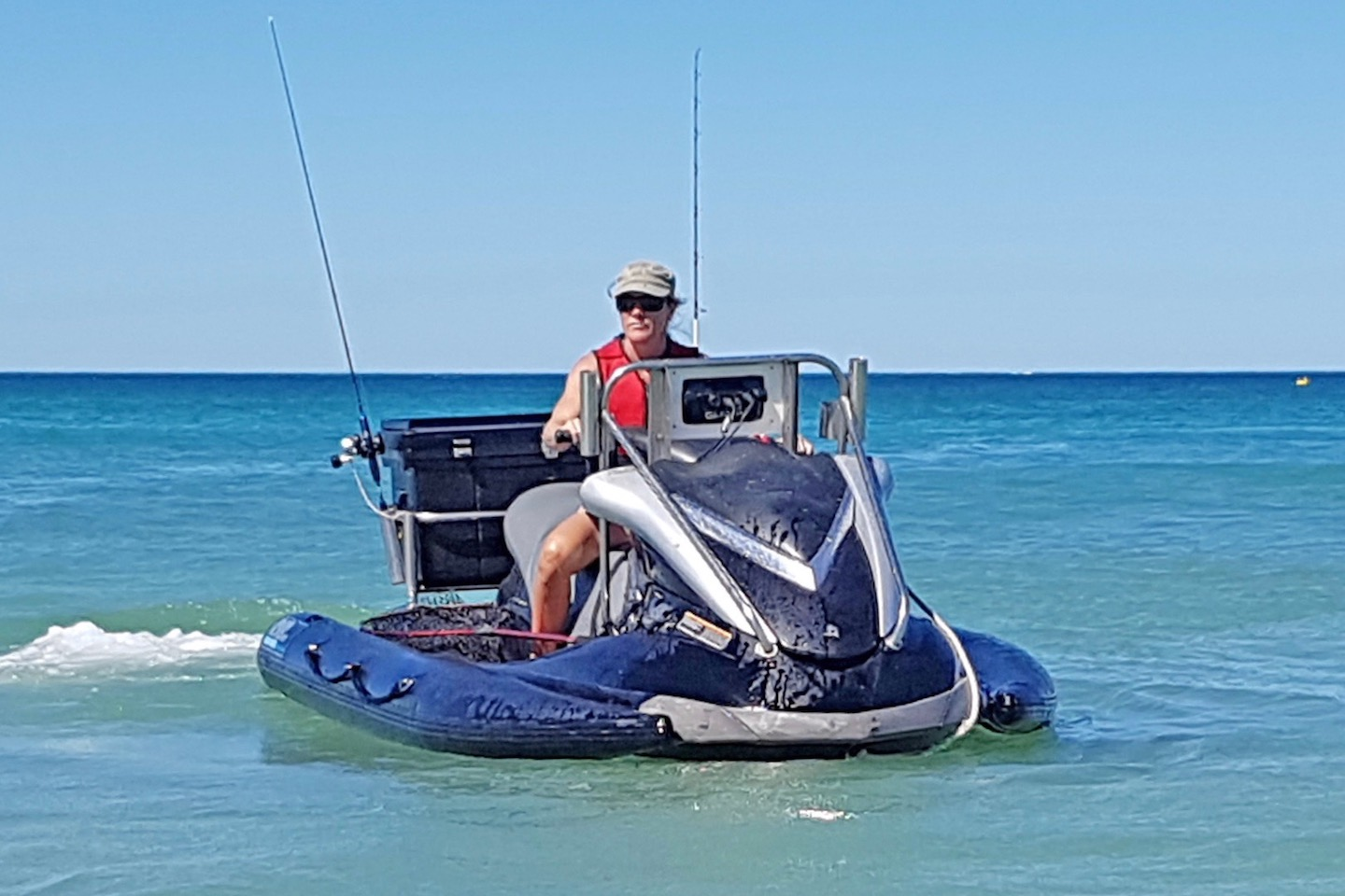 PWC inflatable stabilizer sponson set up for fishing